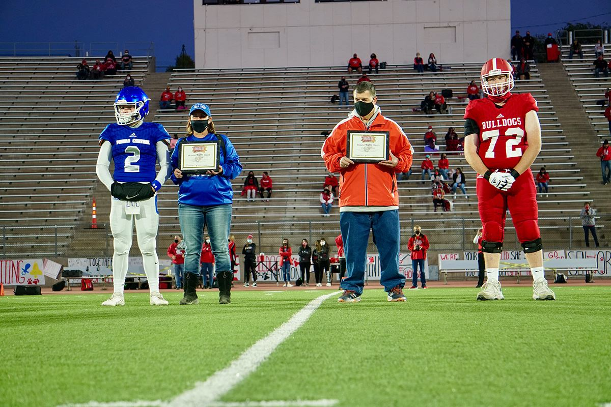 Mid-field awards presentation at the 2020 Bell Game