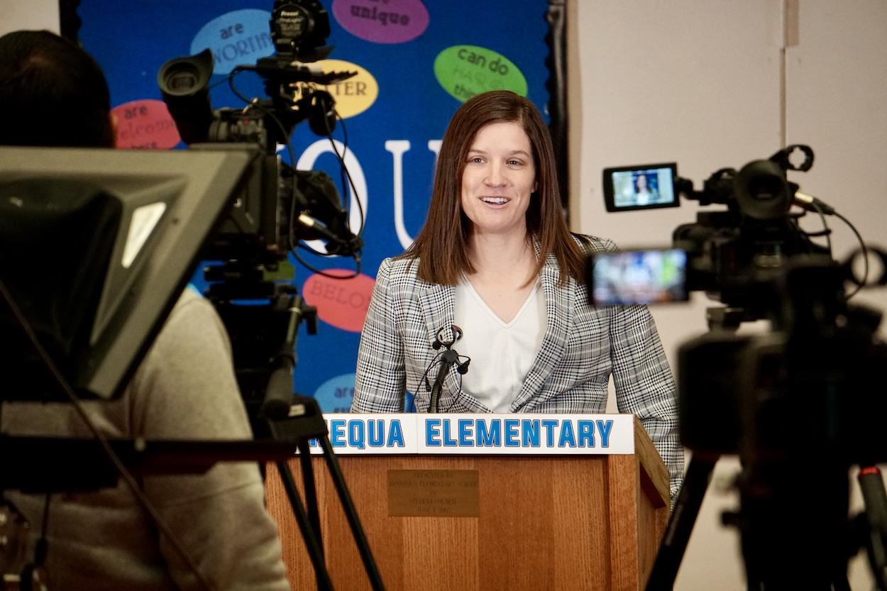 Principal Harshman speaks with the Media about the Gateway to the Southwest project at her school