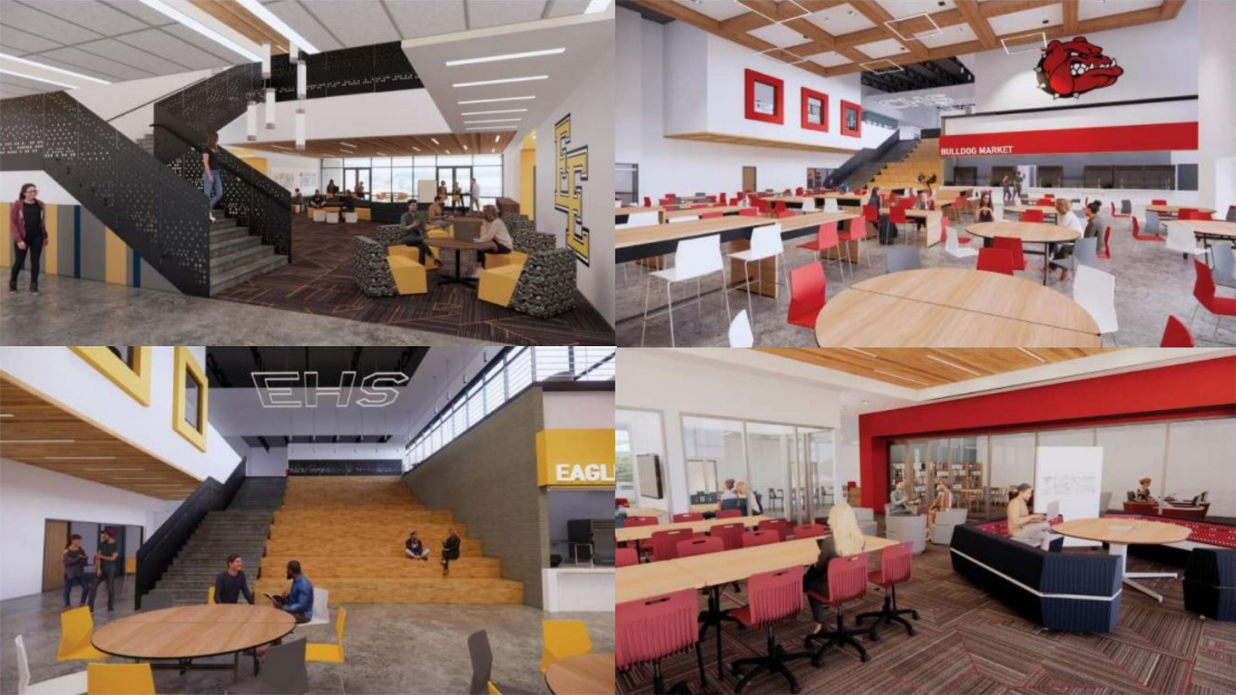 Design renderings of the interior of the new high schools