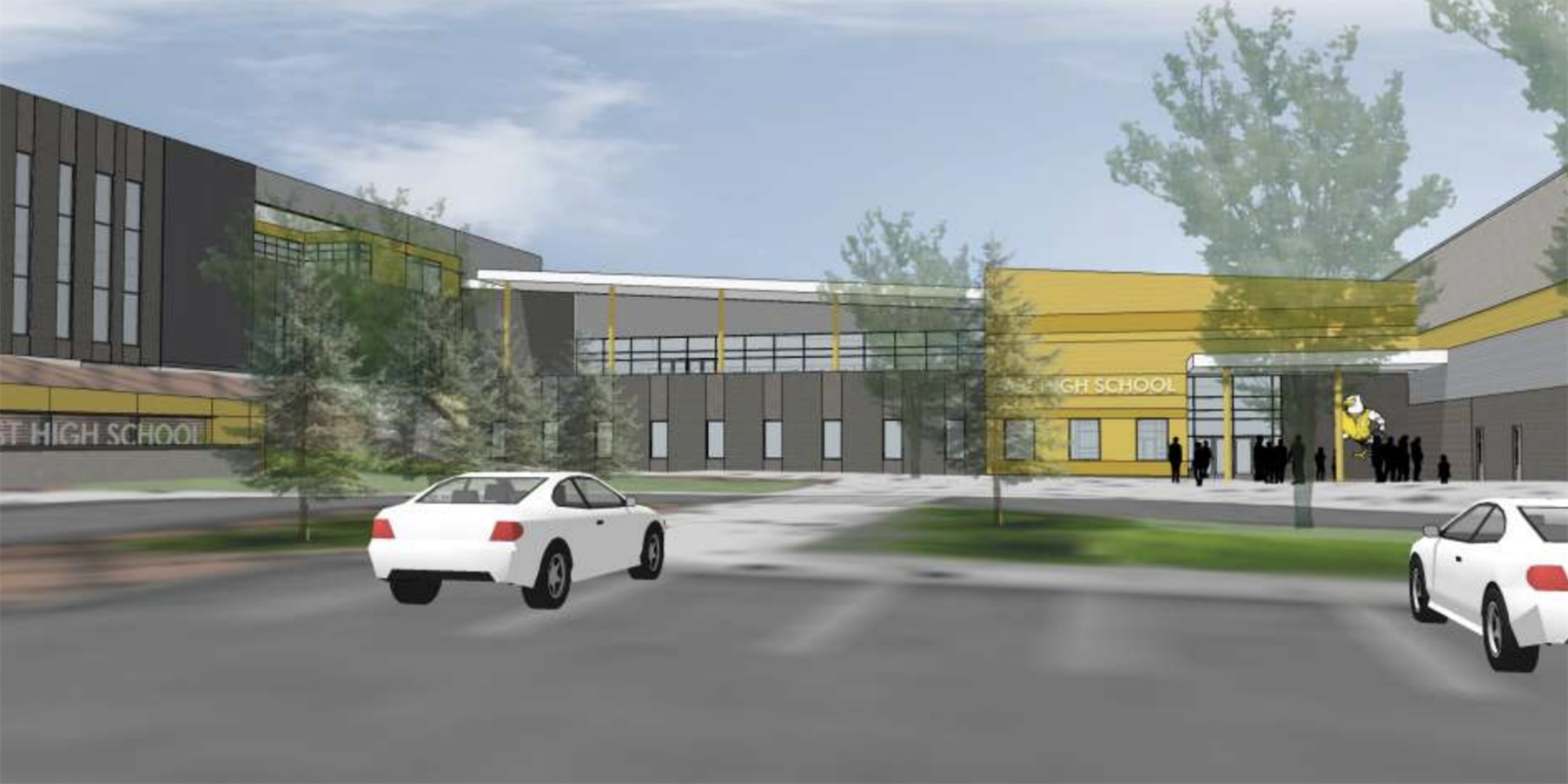 A digital rendering of the new East High School
