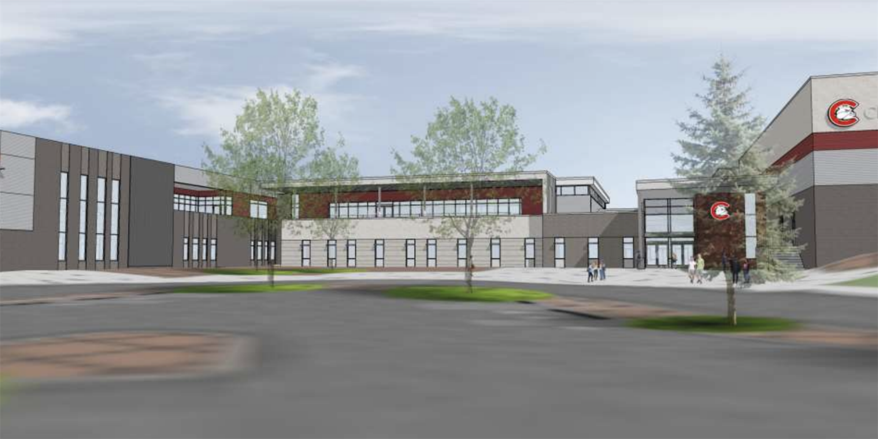 A digital rendering of the new Centennial High School