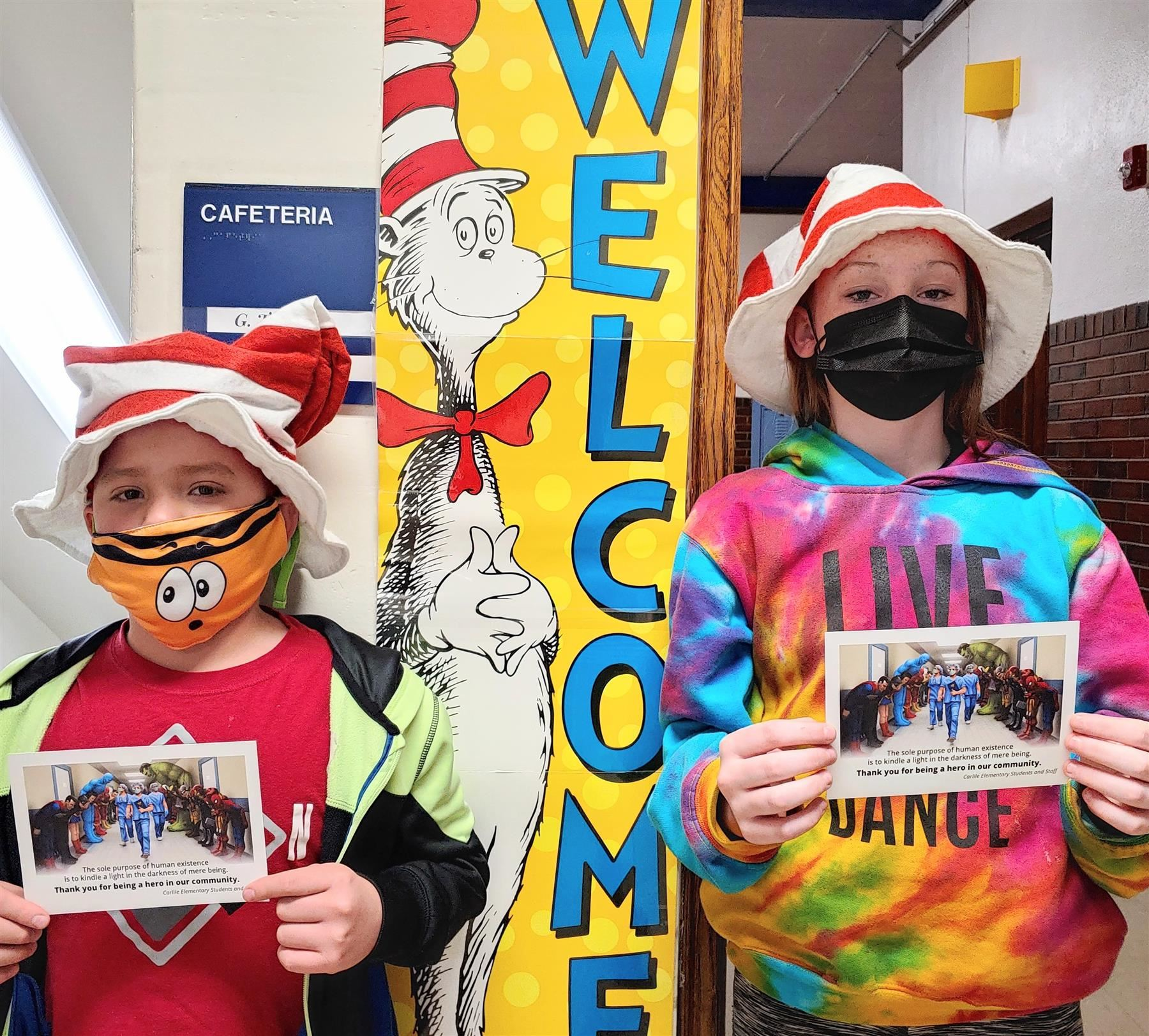 Carlile students pose for a picture on Dr. Seuss's Birthday