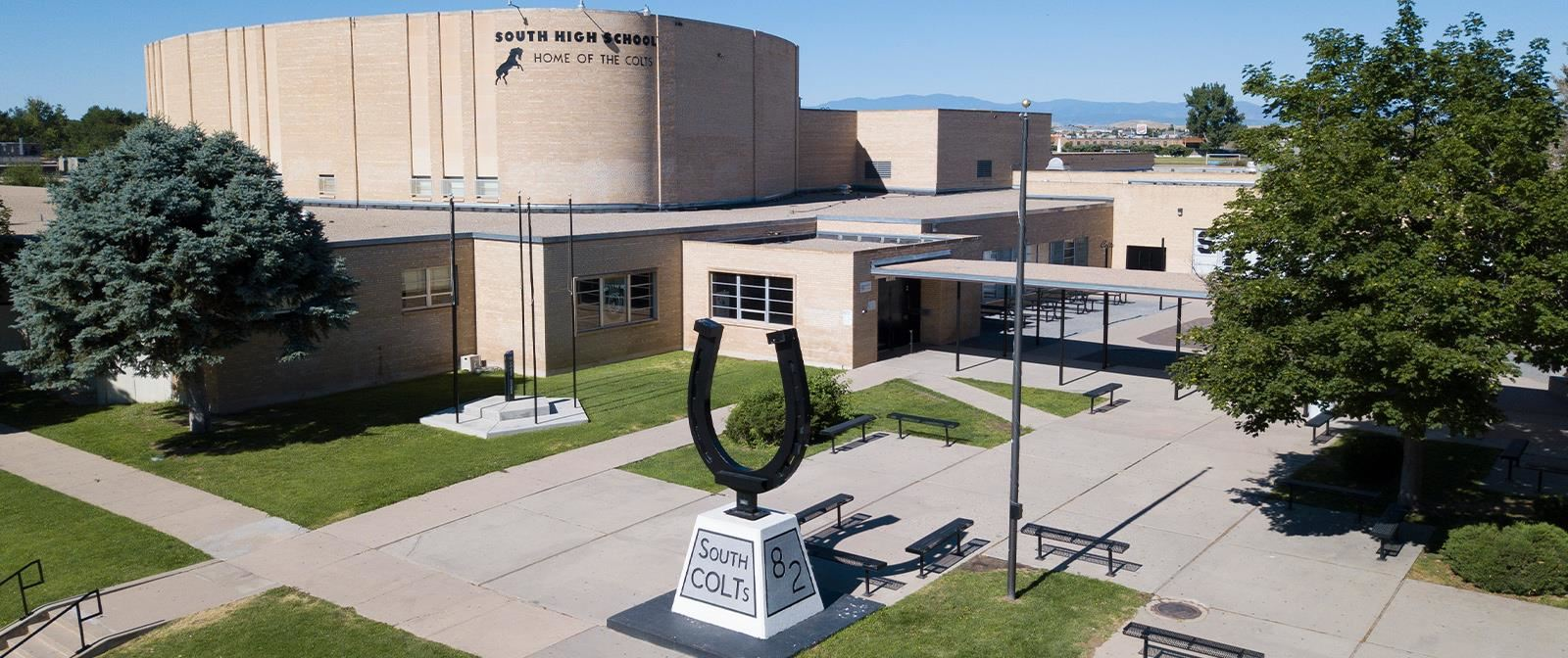 Drone aerial  image showing the front of South High School in Pueblo, Colorado